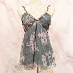 Rebecca Taylor Silk Floral Babydoll Top